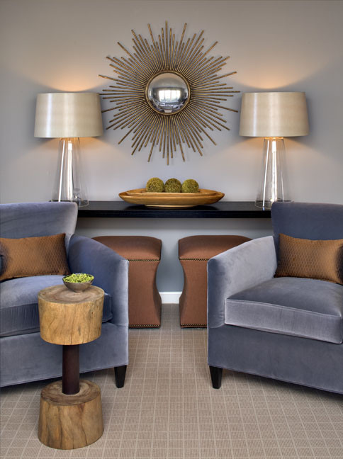 Sunburst Mirror Living Room Modern with None