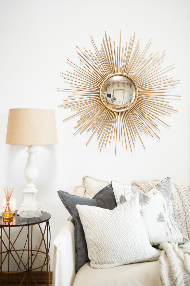 Sunburst Mirrors Living Room Beach with Karate Chopped Pillows My Houzz