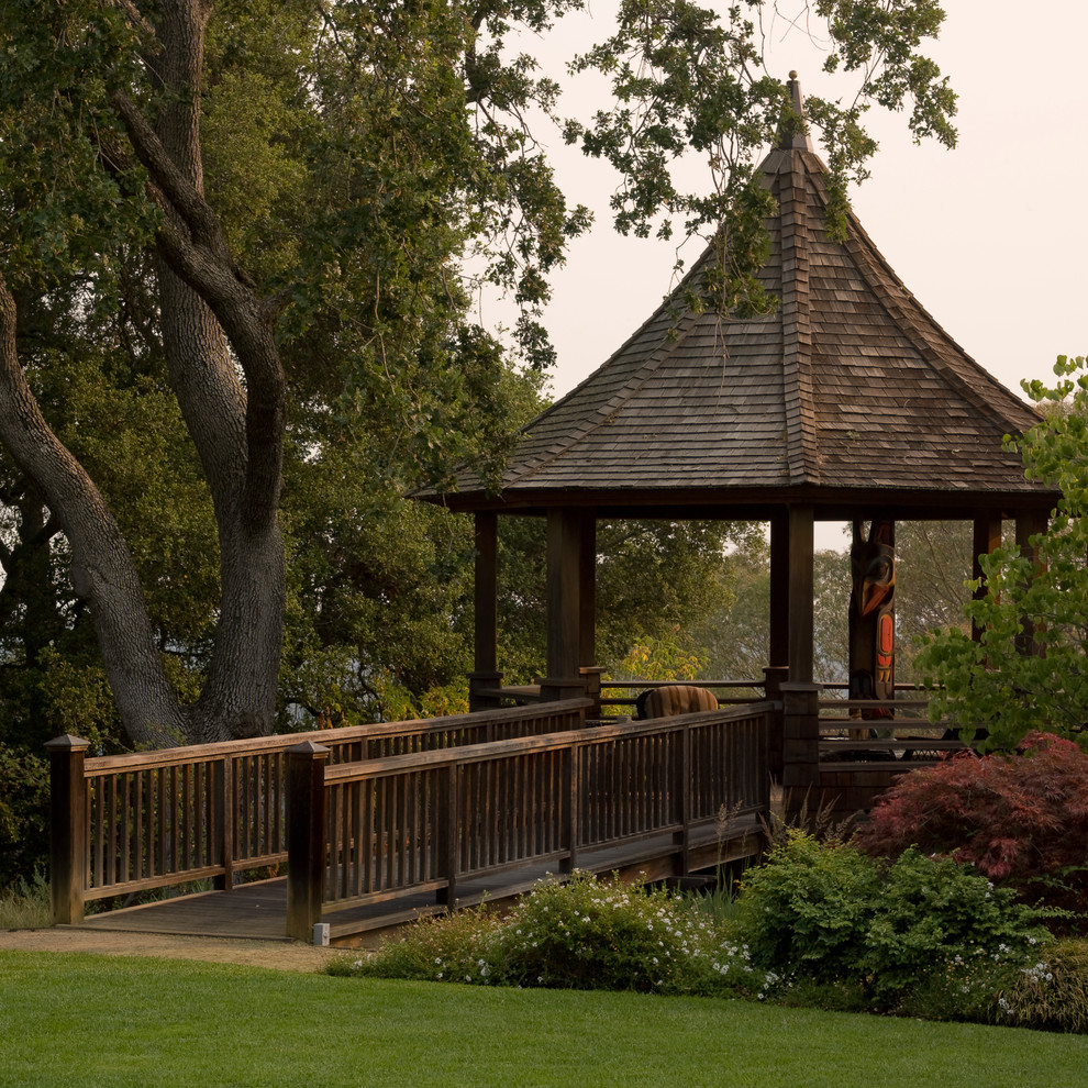 Sunjoy Gazebo Landscape Traditional with Bushes Covered Patio Gazebo Grass Lawn Natural Landscape Private Secluded Trees White