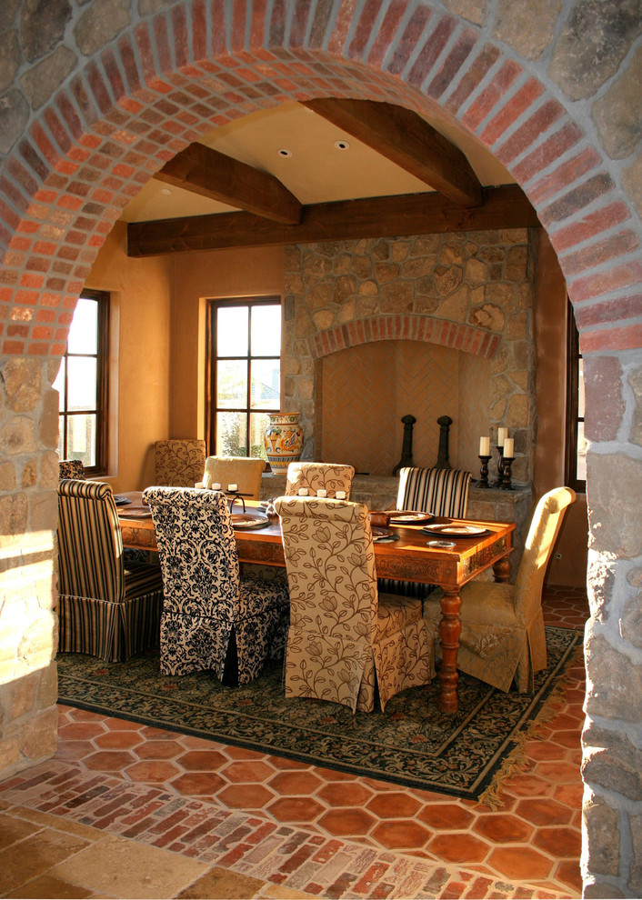 sure fit chair covers Dining Room Rustic with andirons archway area rug exposed beams farmhouse dining table fireplace accessories italian