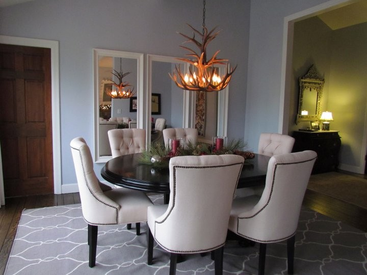 Surya Rug Dining Room Traditional with Antler Chandelier Beige Dining Room Chair Black Pedestal Dining Table Blue Dining