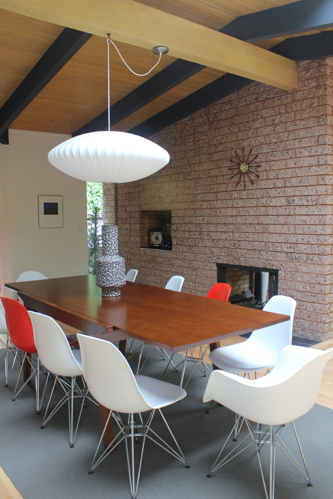 Swag Lamp Dining Room Modern with Beige Wall Black Ceiling Beams Brick Fireplace Brick Wall Bubble Pendant Light