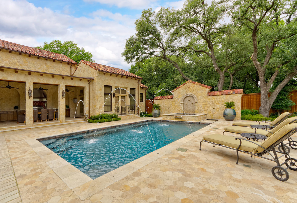 Swag Lamp Pool Mediterranean with Al Fresco Antique Limestone Backyard Bastide Style Bedroom Patio Courtyard Dining Room