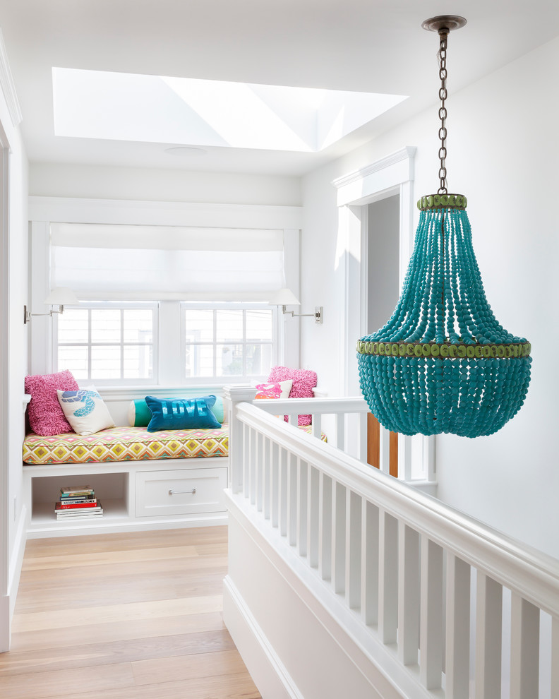 Swag Lamps Hall Beach with Bright Pink Throw Pillows Bright White Built in Bench Seat Colorful Accents Colorful