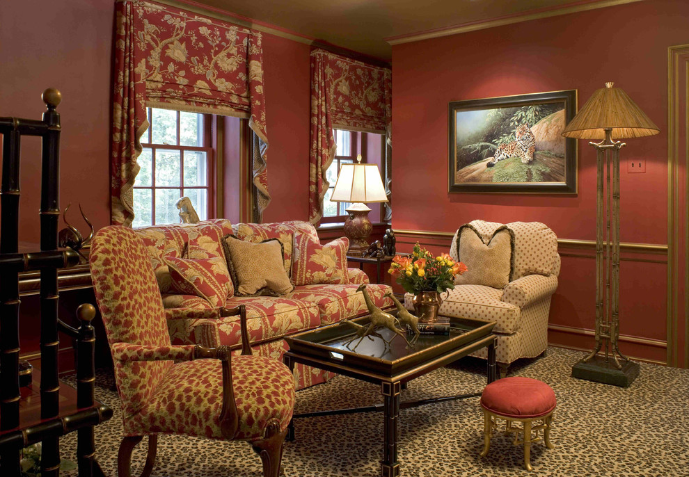 Swag Valance Family Room Eclectic with Bold Patterns Chair Rail Coffee Table Floor Lamp Floral Arrangement Footstool Leopard