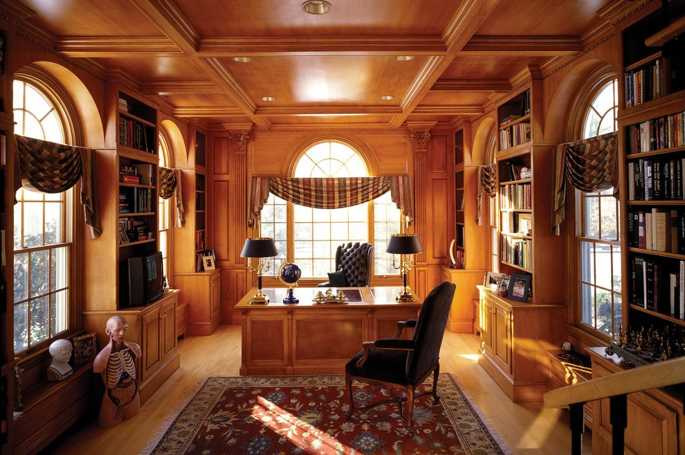 Swag Valance Home Office Traditional with Area Rug Bookcase Bookshelves Built Ins Carved Wood Ceiling Lighting Coffered Ceiling
