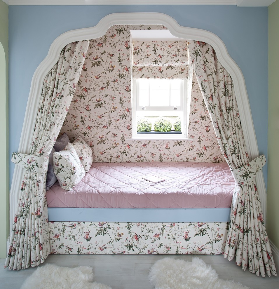 Sweet Jojo Designs Kids Traditional with Bed Curtains Bespoke Bedding Bespoke Built in Bed Bespoke Childs Bed Bespoke