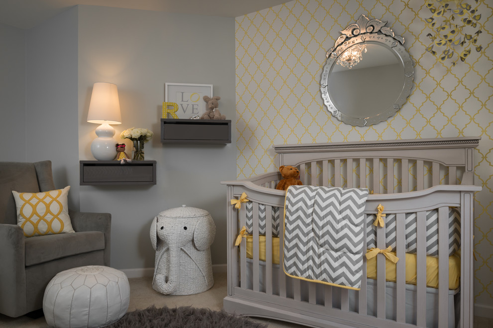 Sweet Jojo Designs Nursery Transitional with Accent Wall Baby Bedding Crib Crib Bedding Elephant Gray Gray and Yellow