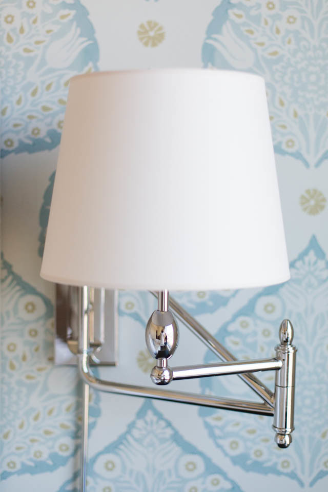Swing Arm Sconce Spaces Transitional with Wallpaper