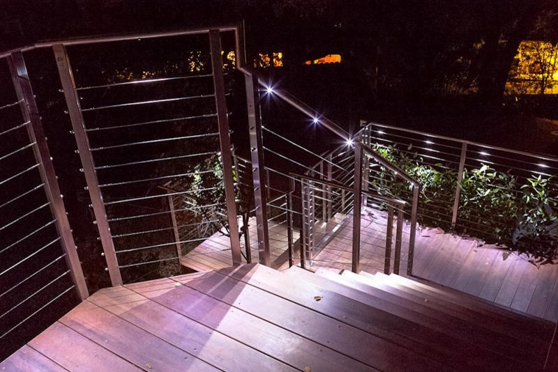 Swing Arm Wall Sconce Deck Contemporary with Cable Deck Cable Deck Railing Cable Railing Outdoor Stair Rails Stainless Steel