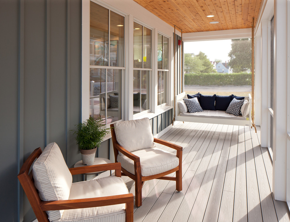 Swing Cushions Porch Beach with Bench Swing Blue Pillows Board and Batten Gray Exterior Porch Swing Seat1