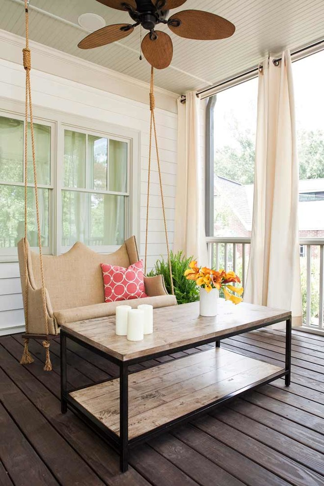 Swing Cushions Porch Contemporary with Beadboard Ceiling Ceiling Fan Circles Drapes Natural Fan Outdoor Space Reclaimed Wood1