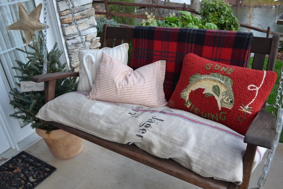 swing cushions Porch Eclectic with door mat grain sack holiday needle point Pilows porch swing stacked stone