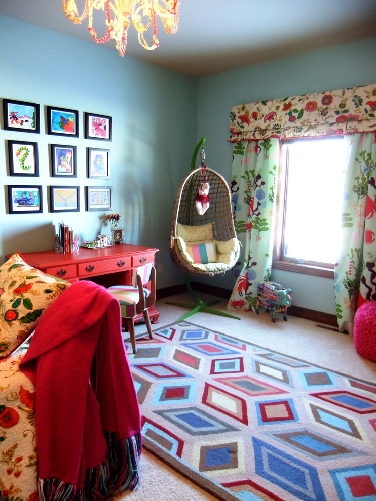 Swingasan Chair Kids Eclectic with Area Rug Bold Colors Curtains Drapes Egg Chair Gallery Wall Valance Wall