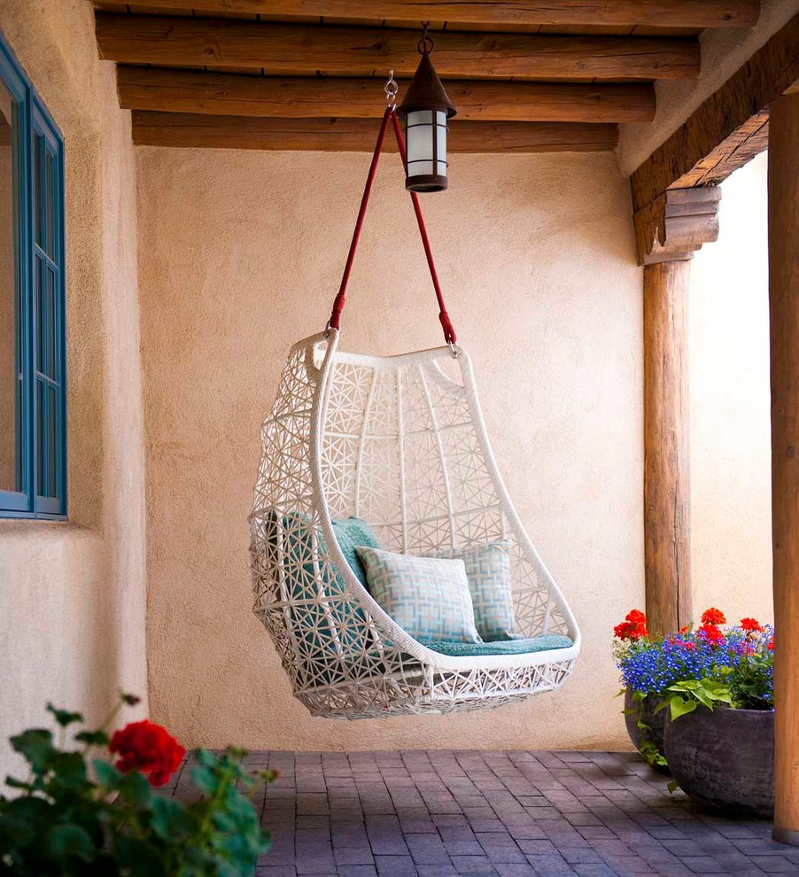 Swingasan Chair Patio Southwestern with Adobe Brick Paving Clean Egg Chair Exposed Beams Hanging Chair Modern Outdoor