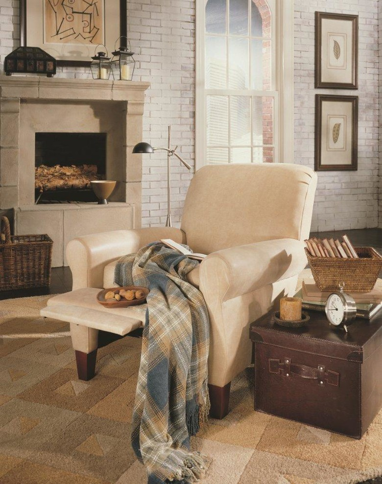 Swivel Rocker Recliner Family Room Transitional with Accent Chair Chaise Lounger Custom Leather Furniture Home Theatre Seating Leather Leather