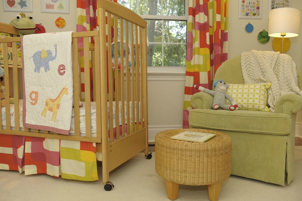 Swivel Rocking Chairs Kids Traditional with Bright Cheerful Crib Crib Skirt Drapes Floor Lamp Gender Neutral Happy Nursery