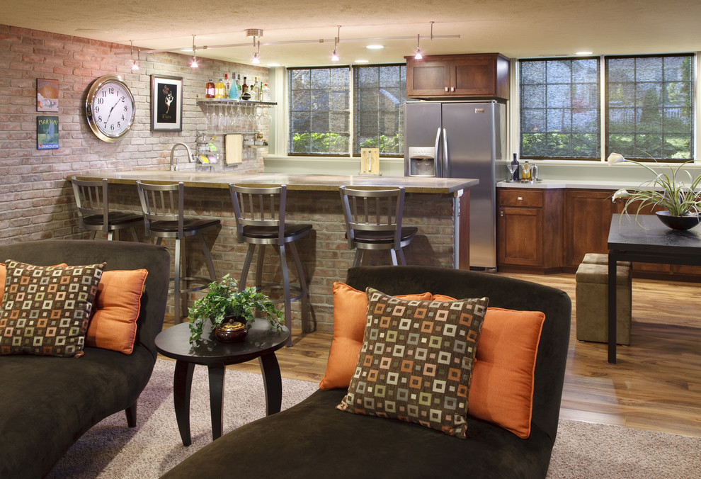 swivel stool Kitchen Contemporary with accent wall bar accessories bar area barware brick wall ceiling lighting eat