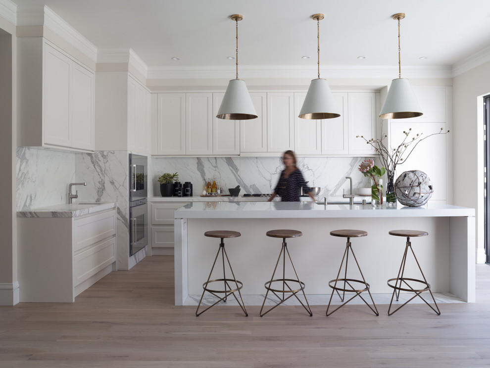Swivel Stool Kitchen Contemporary with All White Kitchen Conical Pendant Lights Crown Molding Double Oven Island Lighting