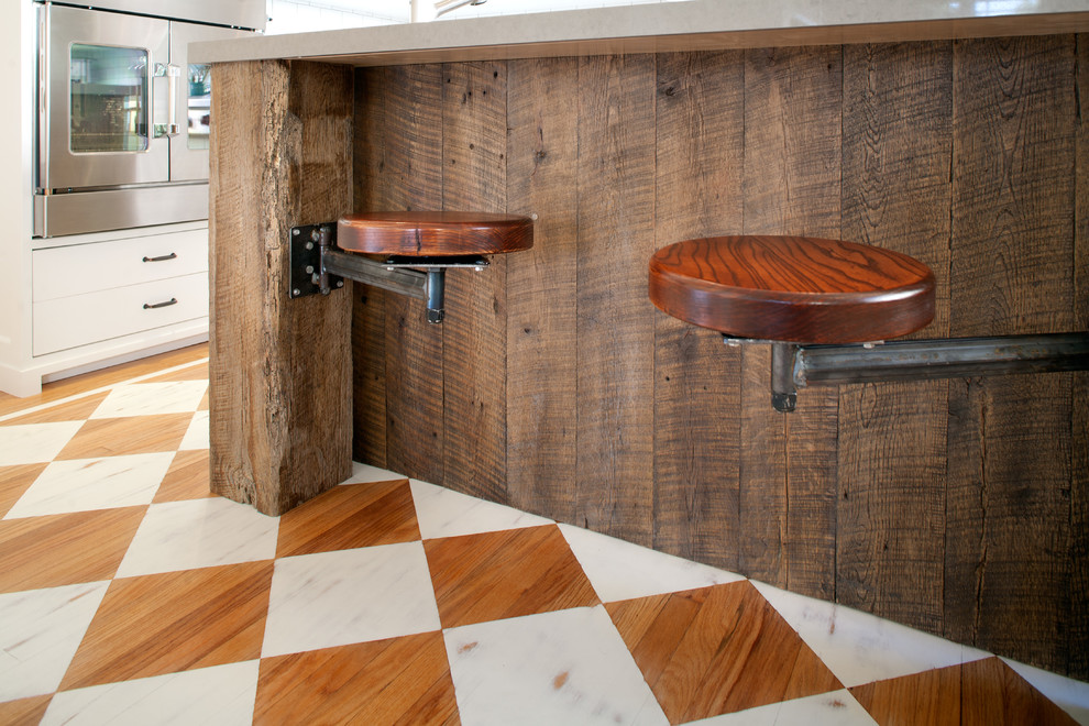 Swivel Stool Spaces Craftsman with Arts Crafts Caesarstone Craftsman Farm Sink Kitchen Painted Wood Floor Reclaimed Wood