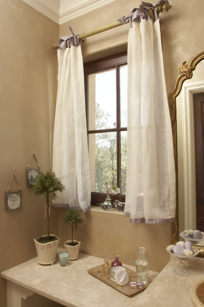 Tab Curtains Bathroom Traditional with Bath Accessories Beige Wall Container Plants Curtain Hardware Curtains Drapes Faux Finish