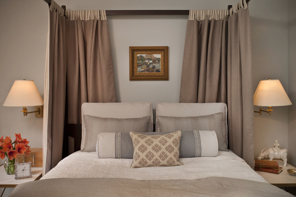 tab curtains Bedroom Transitional with bed curtains beige bedding four poster bed light gray wall light grey