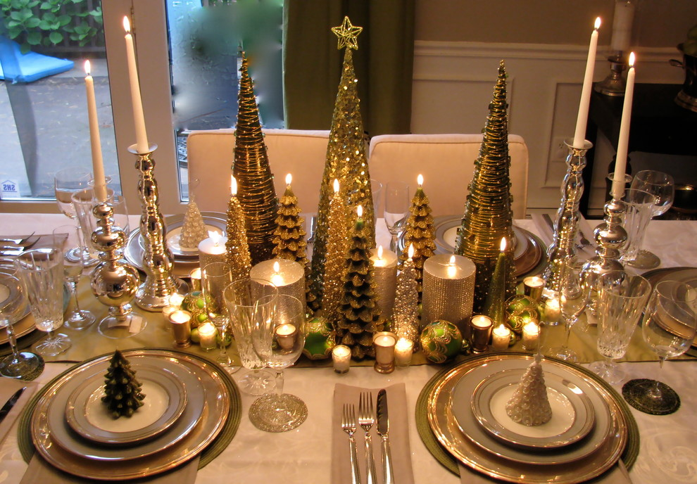 tabletop christmas tree Dining Room Traditional with Christmas table setting formal christmas table holiday table settting holiday tablescape table