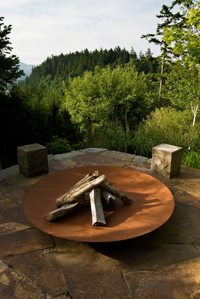 Tabletop Fire Bowl Landscape Traditional with Fire Bowl Fire Feature Fire Pit Flagstone Forest Hill Mountains Outdoor Fire