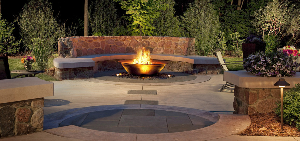 Tabletop Fire Bowl Patio Craftsman with Curb Appeal Garden Ideas Landscape Design Backyard Fire Pit Bench Seat Blue