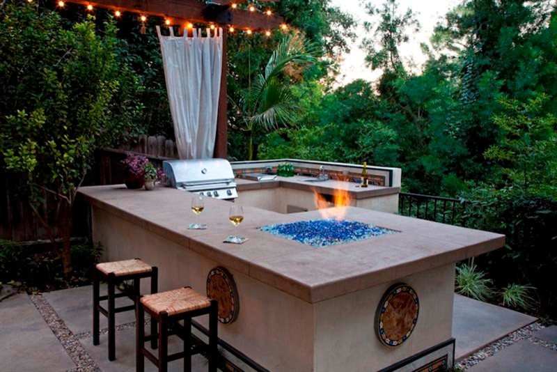 Tabletop Fire Pit Patio Contemporary with Bar Area Barbecue Bbq Chair Cushions Concrete Bar Concrete Countertop Concrete Table