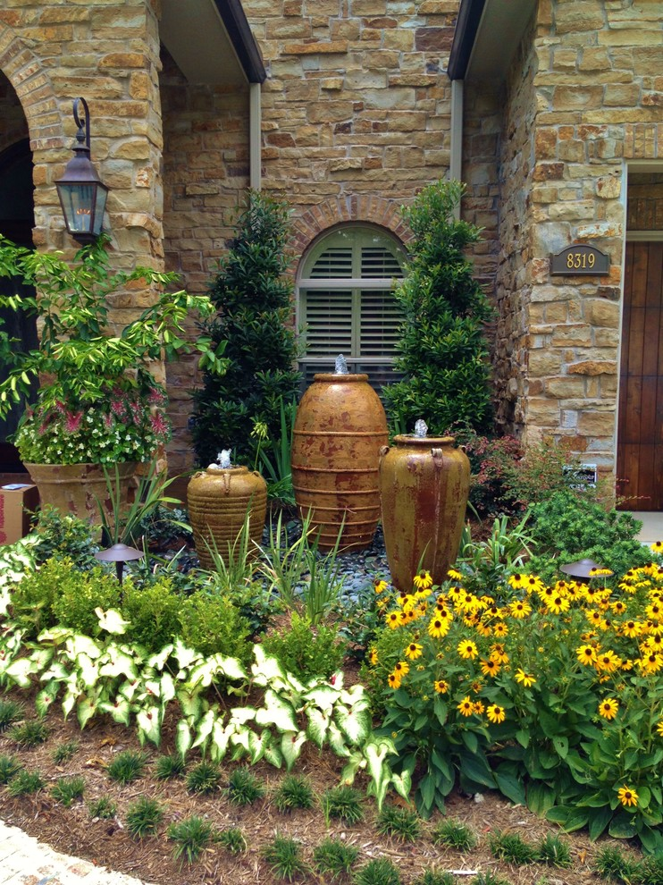 Tabletop Water Fountains Landscape Mediterranean with Annuals Arch Window Bark Mulch Boxwood Bulbs Entry Fountains Garden Perennial Plants
