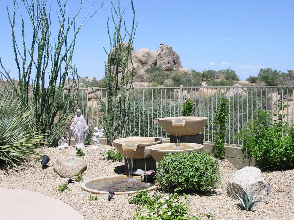 Tabletop Water Fountains Landscape Southwestern with Boulders Cactus Desert Fountain Garden Art Garden Lighting Gravel Outdoor Lighting Pond