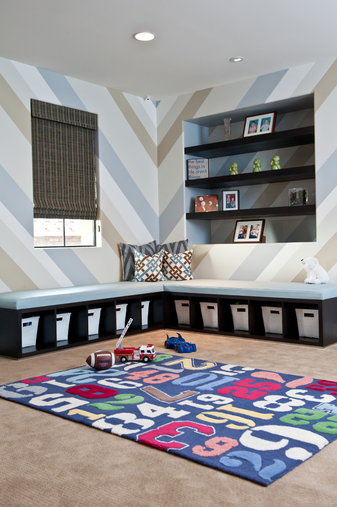 Tall Bookcase Kids Contemporary with Area Rug Baskets Blue Built in Shelf Built Ins Cars Chevron Cubbies Cubby Holes