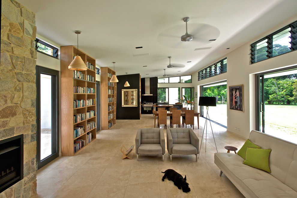 tall bookcase Living Room Contemporary with aluminium sliding doors aluminum awning windows art collection award winning ceiling fans