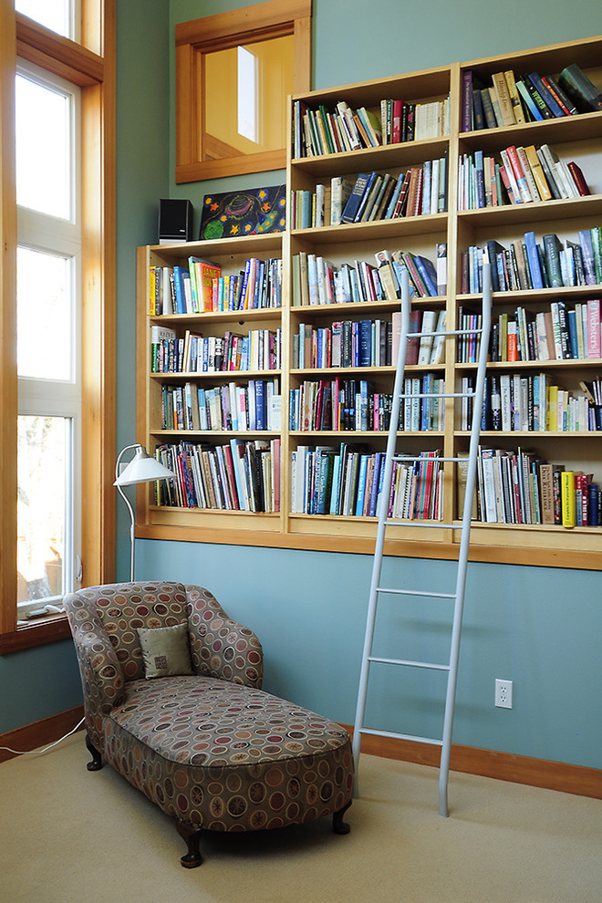 Tall Bookshelves Family Room Traditional with Blue Built in Bookshelves Carpeting Chaise Interior Window Ladder Wood Trim