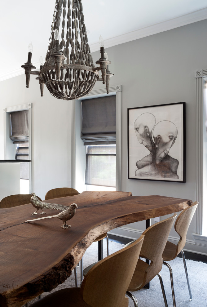 Tall Bookshelves Living Room Transitional with Gray Roman Shades Gray Rug Live Edge Molding Moulding Rustic Wood Table