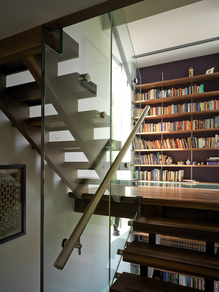 Tall Bookshelves Staircase Contemporary with Accent Wall Bookcase Bookshelves Glass Guardrail Library Open Risers Open Staircase Wall