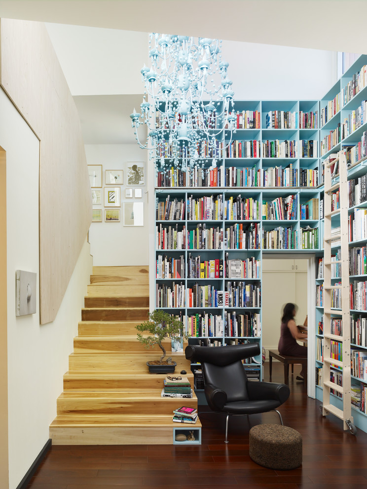 Tall Bookshelves Staircase Contemporary with Black Leather Chair Blue Book Shelves Blue Chandelier Brown Ottoman Built in Library