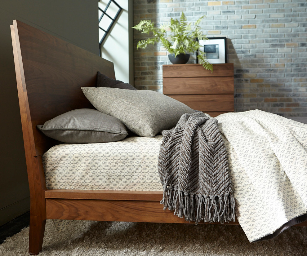 Tall Chest of Drawers Bedroom Contemporary with Bedroom Brick Walls Grey Bedding Loft Bedroom Made in Canada Natural Walnut