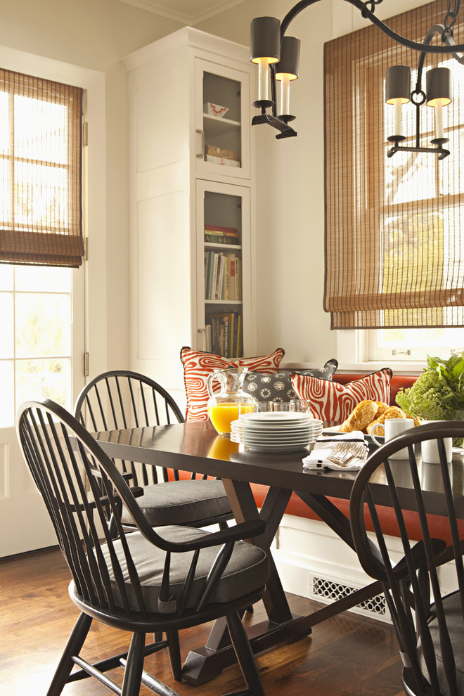 Tall Corner Cabinet Dining Room Transitional with Banquette Breakfast Nook Country Kitchen Glass Front Cabinets White Wood Window Seat