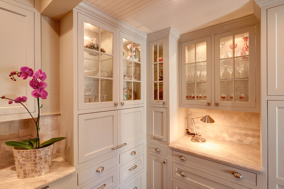 tall corner cabinet Kitchen Transitional with appliance garage beadboard brushed nickel cabinet lighting Cabinetry cup drawer pulls glass