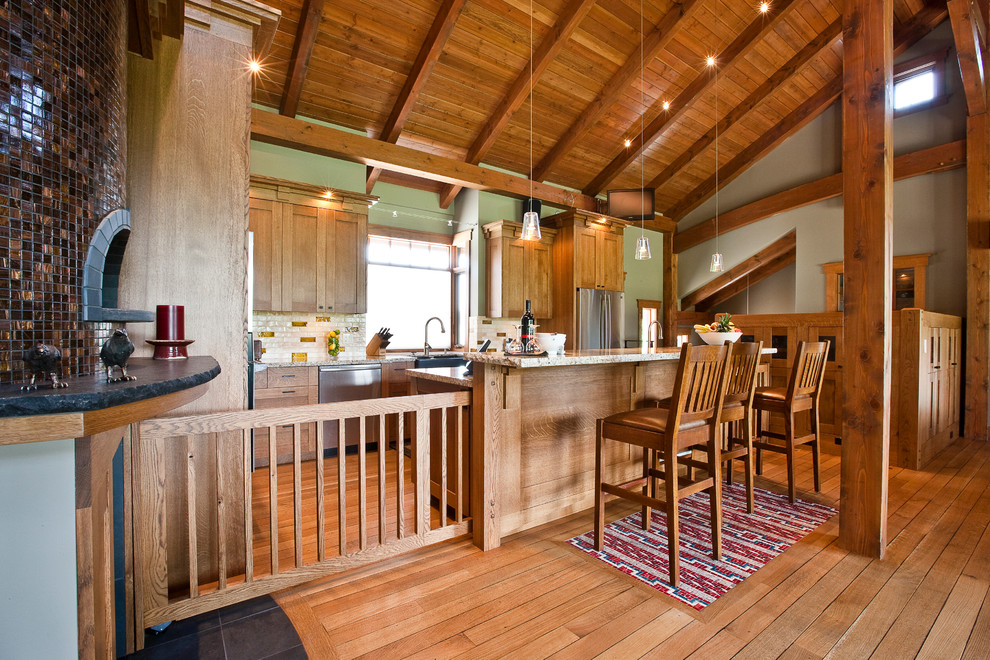 tall dog gates Kitchen Craftsman with Arts and Crafts chair back bar stools Craftsman dentils exposed beams exposed