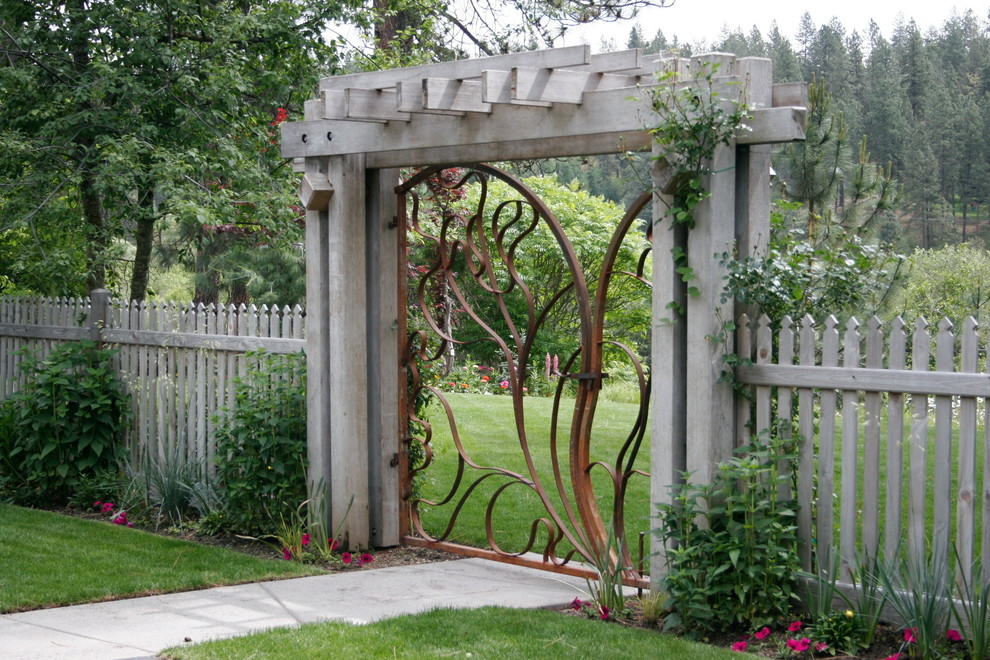 Tall Dog Gates Landscape Contemporary with Arbor Concrete Sidewalk Garden Entrance Garden Entry Garden Gate Gate Metal Gate