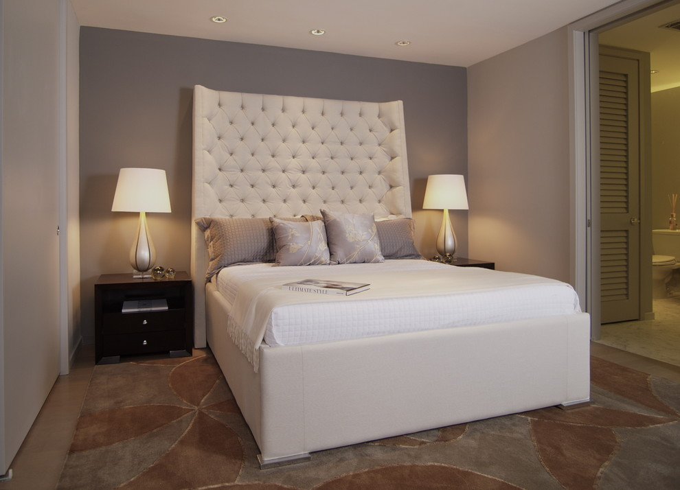 tall headboards Bedroom Contemporary with accent wall bedside table ceiling lighting decorative pillows grey wall neutral colors