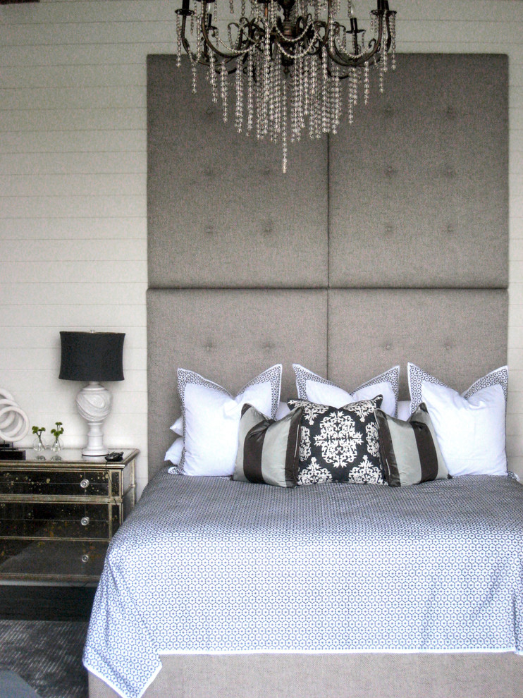 Tall Headboards Bedroom Contemporary with Bedside Table Ceiling Lighting Chandelier Chest of Drawers Decorative Pillows Dresser Mirrored