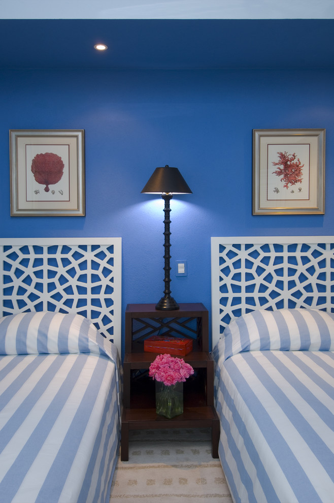 Tall Headboards Bedroom Tropical with Bedside Table Blue Wall Ceiling Lighting Floral Arrangement Fretwork Headboard Nightstand Painted
