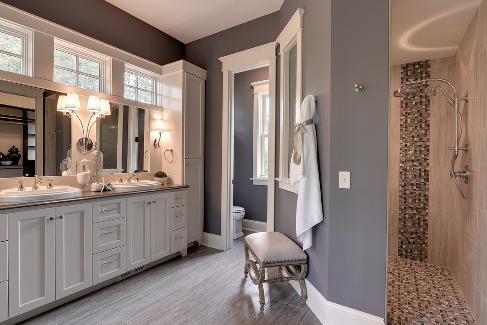 Tall Linen Cabinet Bathroom Traditional with Bench Chrome Doorway Double Sinks Enameled Cabinetry Gray Painted Wall Master Bathroom1