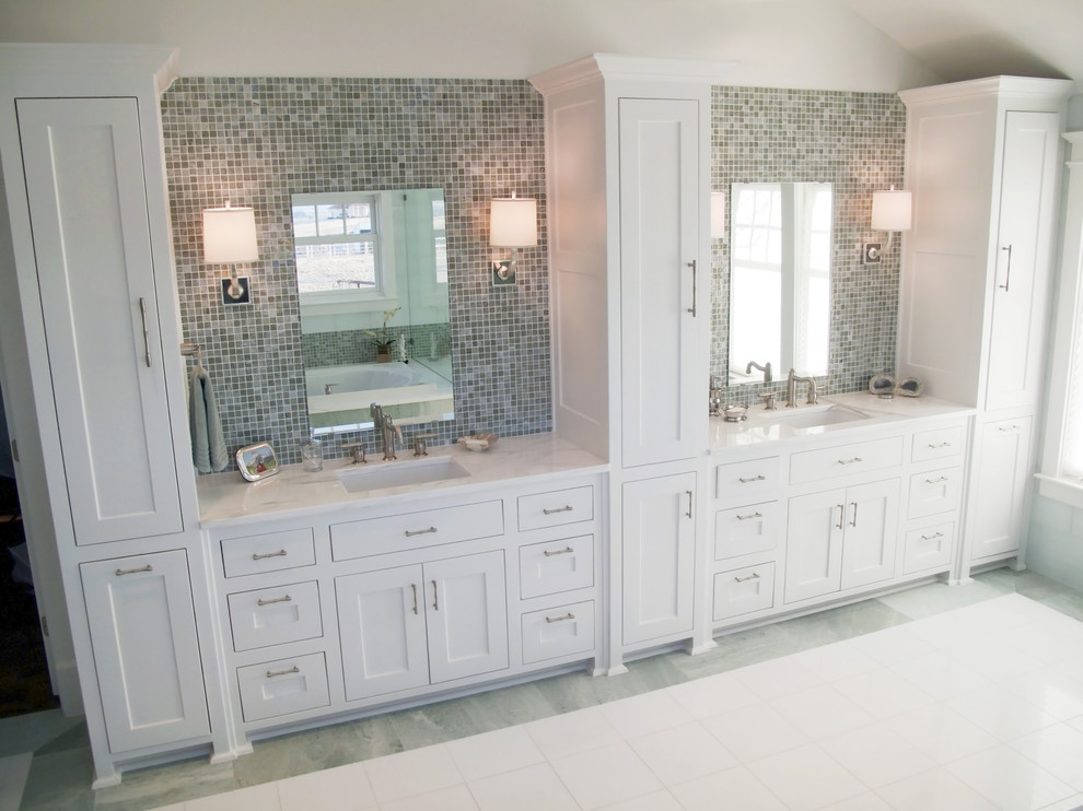 Tall Linen Cabinet Bathroom Traditional with Double Sinks Frame and Panel Cabinets Marble Mirror Mosaic Tile Tile Backsplash1