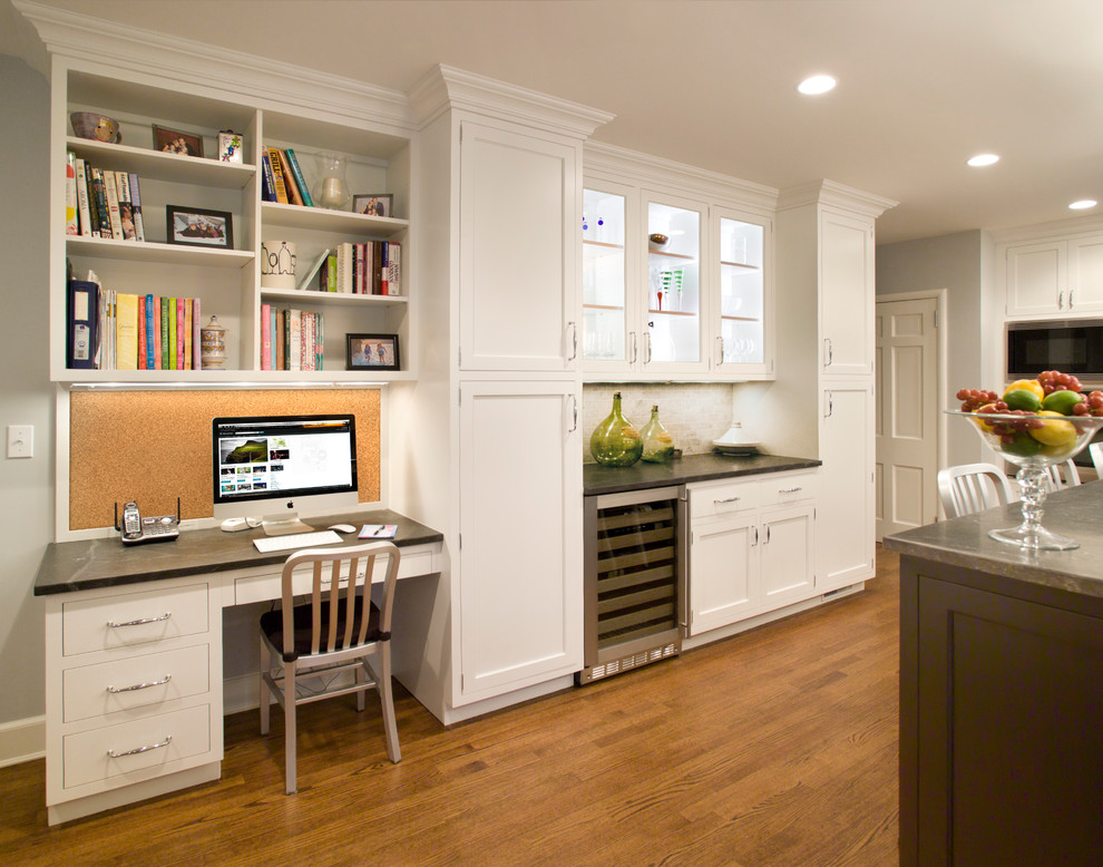 Tall Pantry Cabinet Kitchen Traditional with Beverage Cooler Black and White Color Scheme Bookshelves Built in Desk Corkboard Display