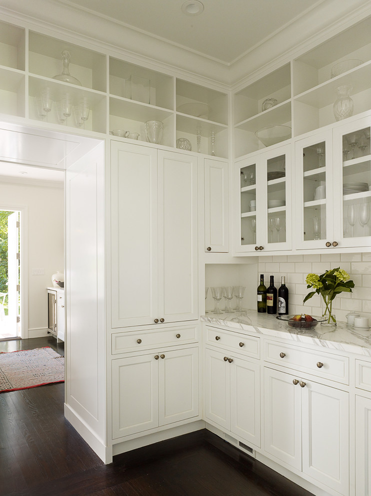 Tall Pantry Cabinet Kitchen Transitional with Butlers Pantry Crown Molding Dark Stained Wood Floor Glass Front Cabinets Kitchen